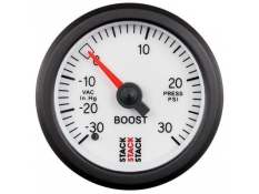 STACK 52mm Mechanical Boost Gauge - 30inHg to 30psi White
