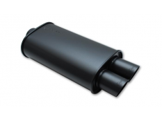 Vibrant StreetPower Flat Black Oval Muffler Dual Tips 2.5in Inlet